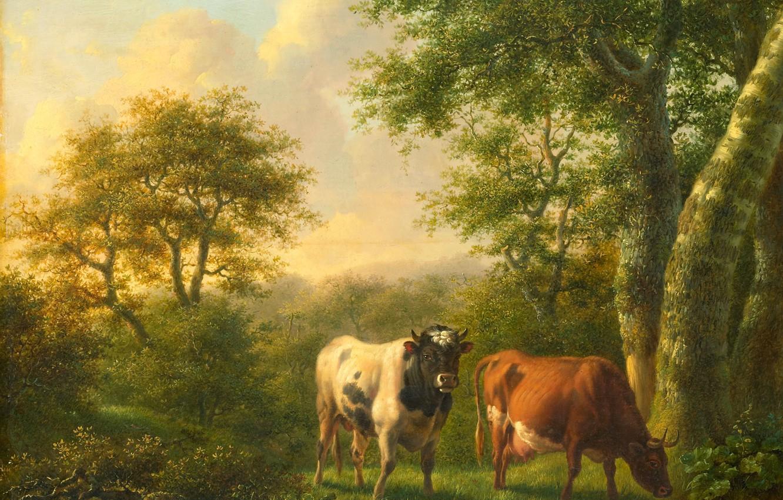 Фото обои животные, корова, картина, Пейзаж с Крупным Рогатым Скотом, Adolf Karel Maximiliaan Engel