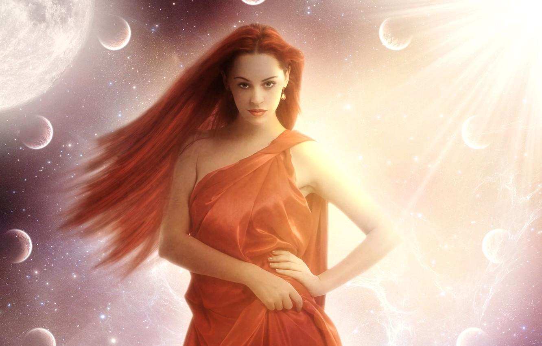 Фото обои глаза, взгляд, девушка, солнце, космос, звезды, лицо, поза, фантастика, планеты, руки, арт, губы, красные волосы, …