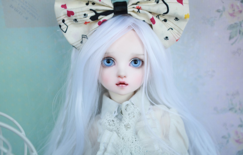 Фото обои кукла, голубые глаза, бант, длинные волосы, белые волосы, doll, BJD