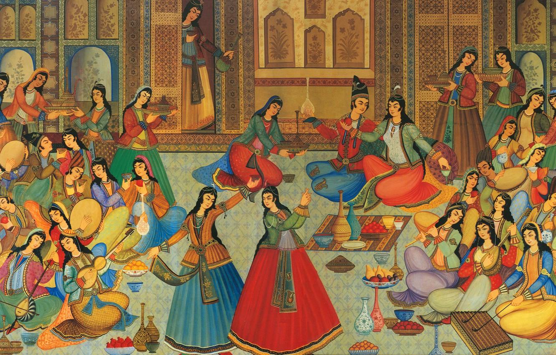 Фото обои music, party, dress, girls, dance, women, color, painting, paint, drink, jam, harem, iran, court, sultan, …