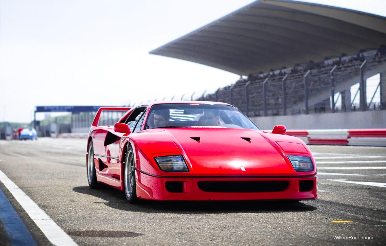 Фото обои Красный, Авто, Машина, Феррари, Ferrari, F40, Суперкар, Трек, Supercar, Передок, Ferrari F40, F 40, Ferrari …
