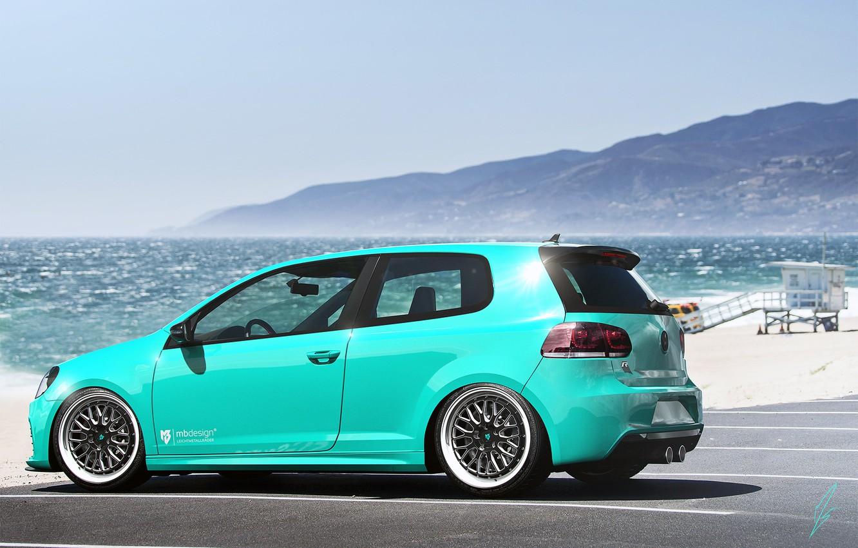 Фото обои Volkswagen, Sky, Blue, Beach, Mountain, Golf, Sea, Rear