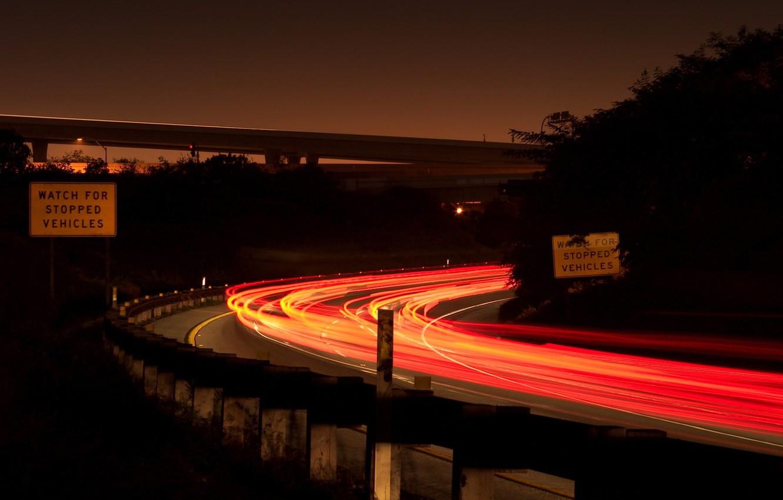 Фото обои свет, машины, ночь