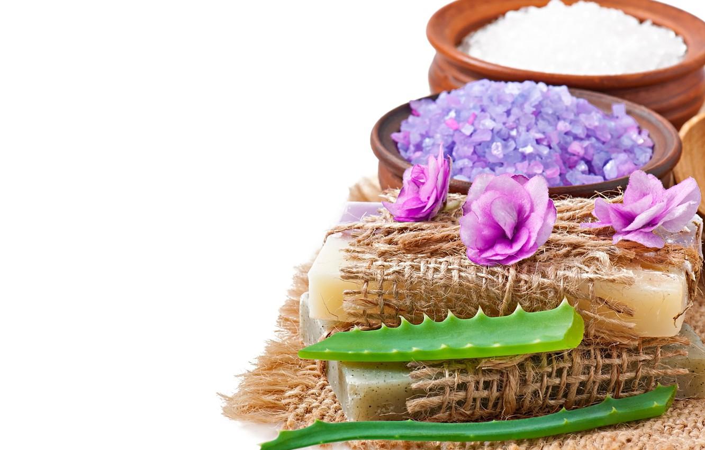 Фото обои soap, flowers, lavender, spa, salt, natural, aloe
