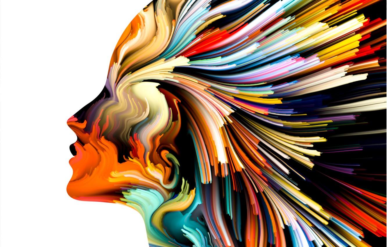 Фото обои colors, woman, art, figure, lines, head