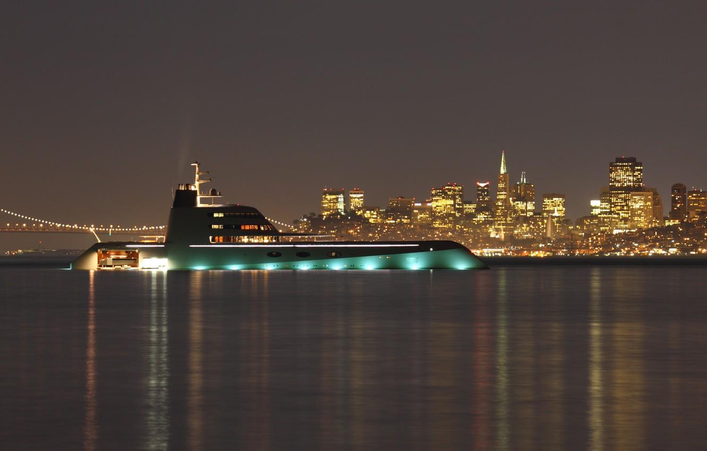 Фото обои ночь, city, город, огни, дома, вечер, яхта, night, высотки, yacht, yachts, мега, мост., super yacht, …