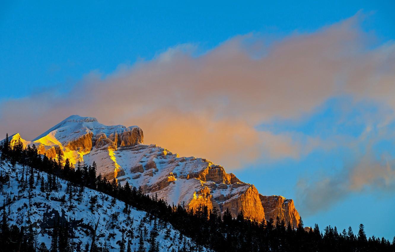 Фото обои зима, небо, снег, деревья, закат, скала, гора, склон
