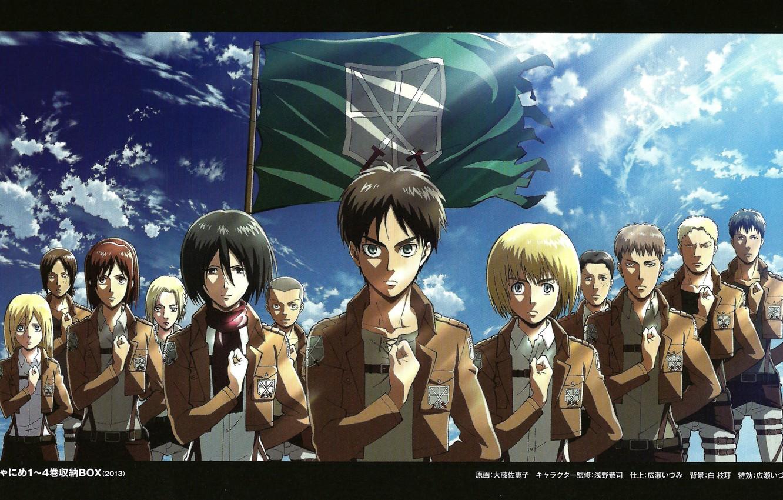 Фото обои небо, флаг, эмблема, art, военная форма, Shingeki no Kyojin, Вторжение титанов, Annie Leonhart, Eren Yeager, …