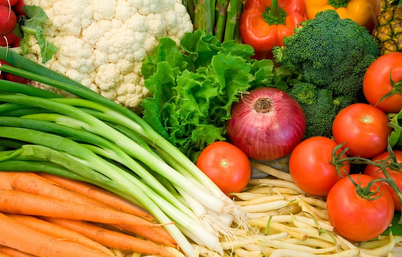 Фото обои еда, лук, перец, овощи, помидоры, морковь, брокколи