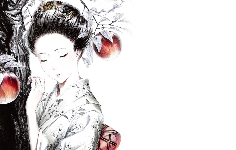 Нарисованные японские картинки девушек