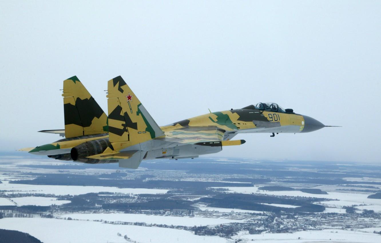 Фото обои зима, снег, полет, Истребитель, красиво, Су-35