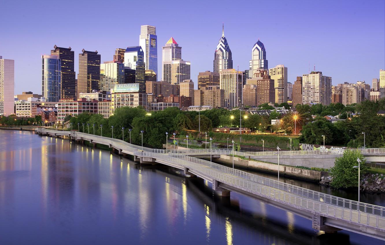 Обои дома, филадельфия, сша, небоскребы, утро. Города foto 6