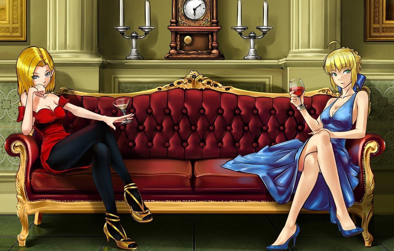 Фото обои девушки, диван, вино, интерьер, бокалы, арт, android, saber, fate/stay night, dragonball, make days