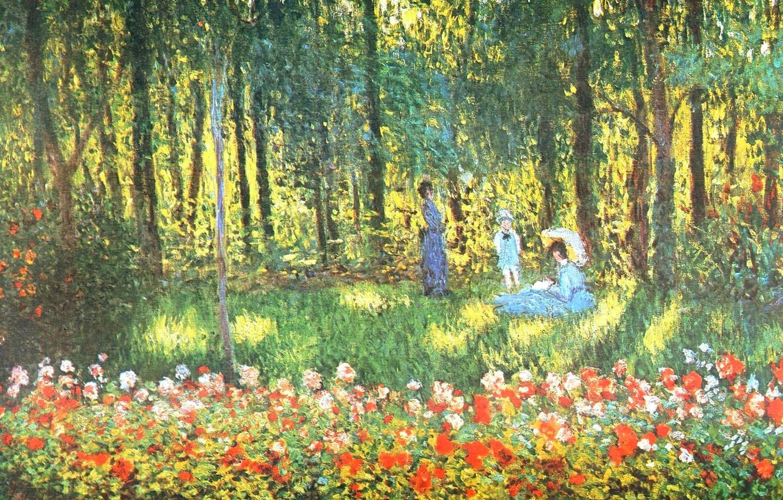 Обои Девушки в Саду, жанровая, картина, Клод Моне. Разное foto 7