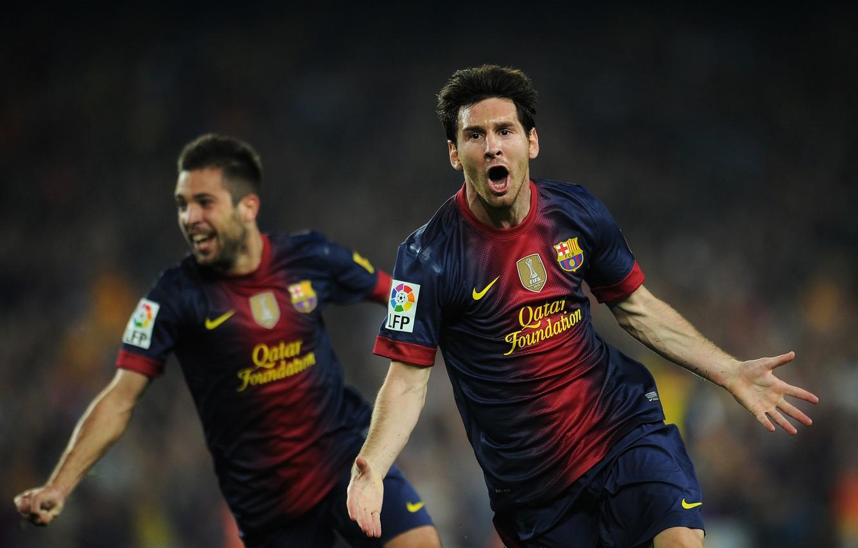 Фото обои футбол, гол, футболисты, football, Лионель Месси, Lionel Messi, Barcelona, празднование, Jordi Alba, el classico, Nou …