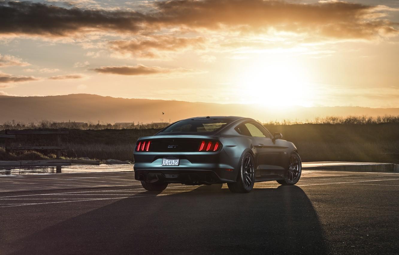 Фото обои Mustang, Ford, Muscle, Car, Sunset, Wheels, Rear, 2015, Velgen, Beam