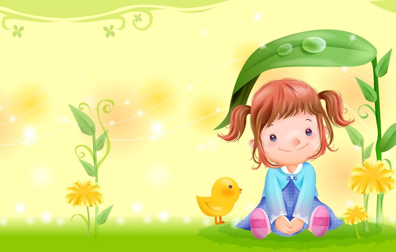 Фото обои лето, цветы, арт, девочка, полянка, детская