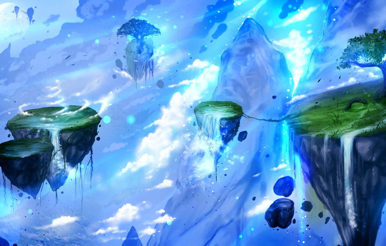 Фото обои облака, ночь, дерево, скалы, луна, водопады, летающие остарова