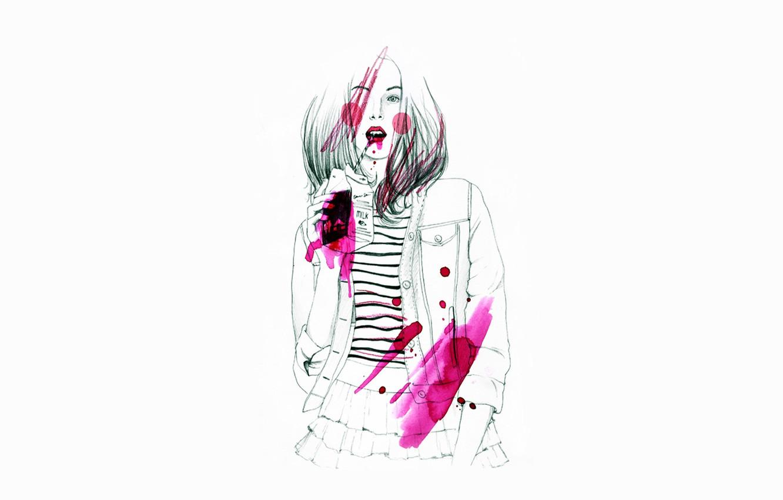 Фото обои стиль, Девушка, milk, розовый цвет