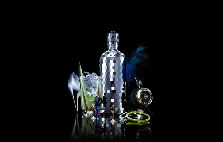 Фото обои бутылка, гламур, клуб, черный фон