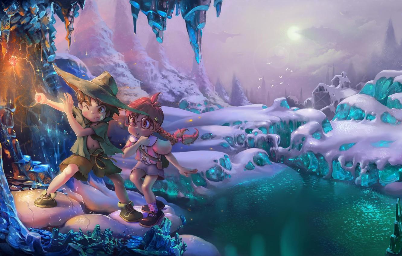 Фото обои зима, дети, волшебство, магия, мальчик, девочка, пещера