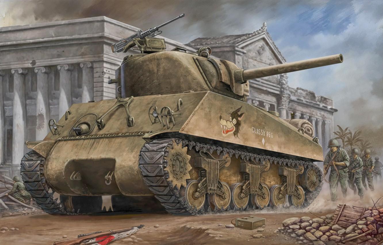Фото обои war, art, painting, tank, ww2, m4a3 Sherman