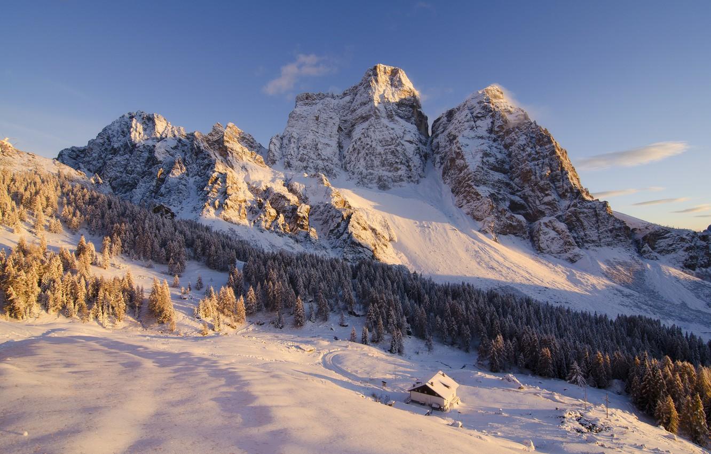 Фото обои зима, деревья, пейзаж, горы, природа, домик