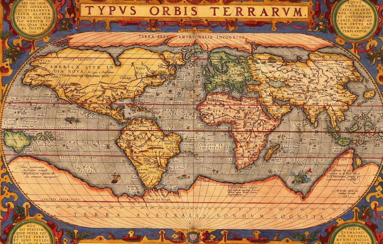 Фото обои мир, рисунок, карта, материки, typus orbis terrarum