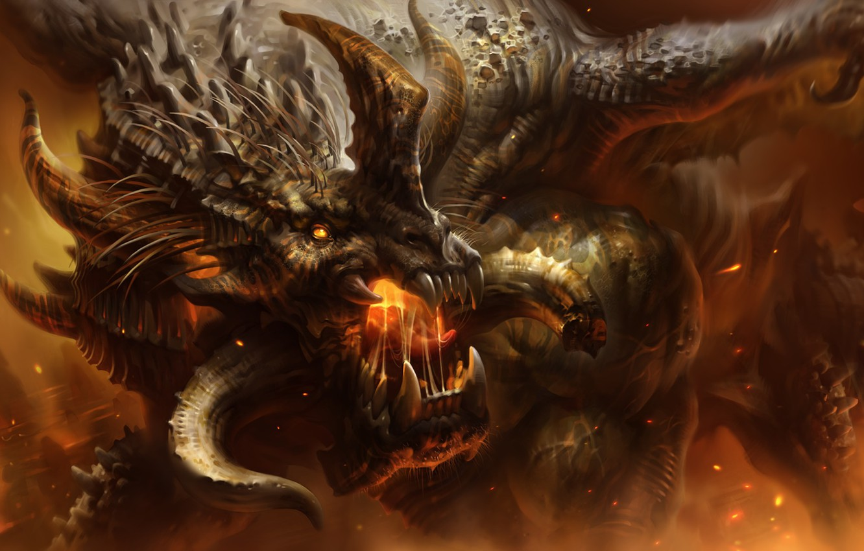 Фото обои огонь, пламя, дракон, клыки, рога, art