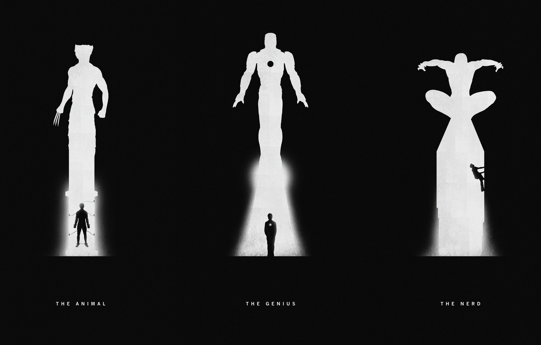 Фото обои Wolverine, Iron Man, Marvel Comics, Железный Человек, Человек-Паук, Spider-Man.Росомаха