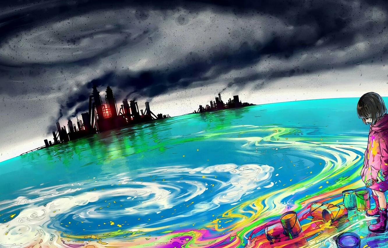 Фото обои море, небо, краски, девочка, заводы, art, yuumei