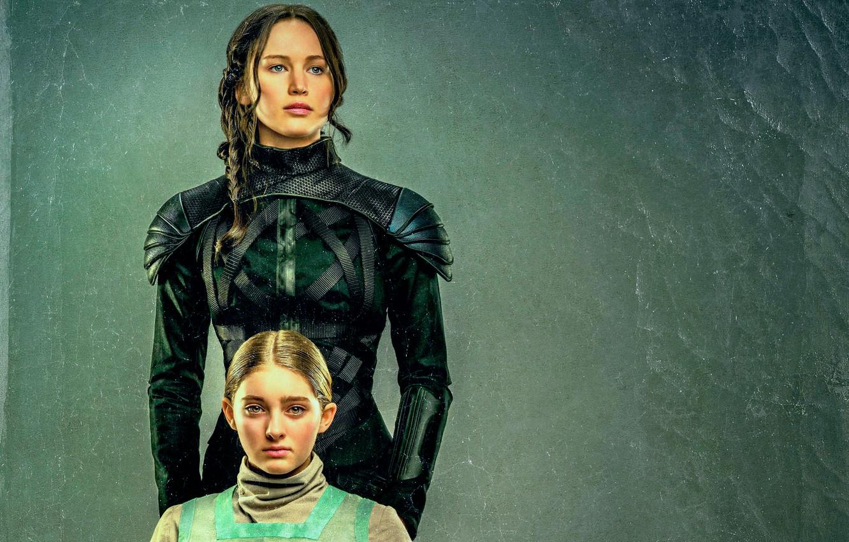 Фото обои арт, Jennifer Lawrence, The Hunger Games, Katniss Everdeen, Сойка-пересмешница, Primrose Everdeen, Willow Shields, Sister portrait