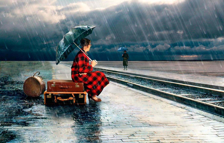 Фото обои девушка, зонт, ливень, чемоданы, Jenny de Groot
