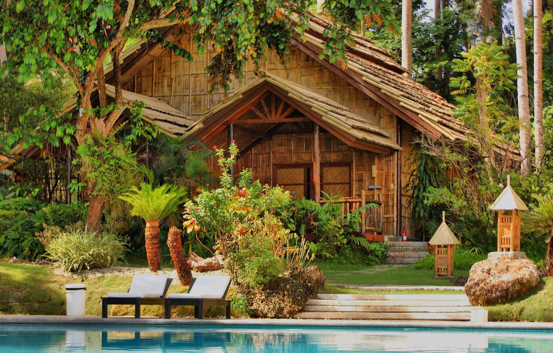 Фото обои вода, деревья, дом, пальмы, бассейн
