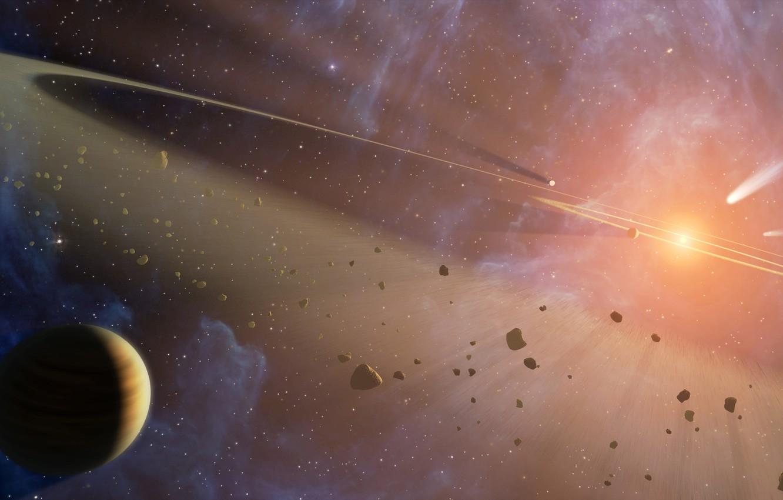 Фото обои космос, взрыв, осколки, звезда, планета