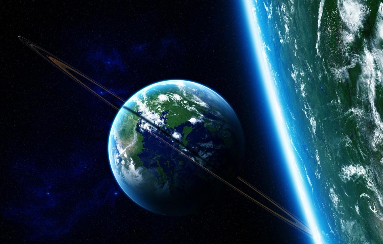 Фото обои звезды, планета, кольца, атмосфера, satellite