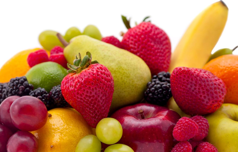 Фото обои ягоды, малина, яблоко, клубника, виноград, груша, фрукты, банан