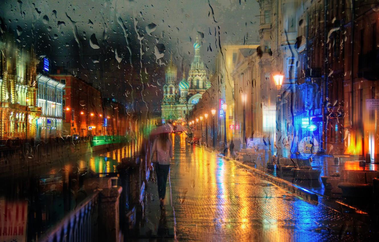 Фото обои девушка, капли, дождь, зонт, Санкт-Петербург