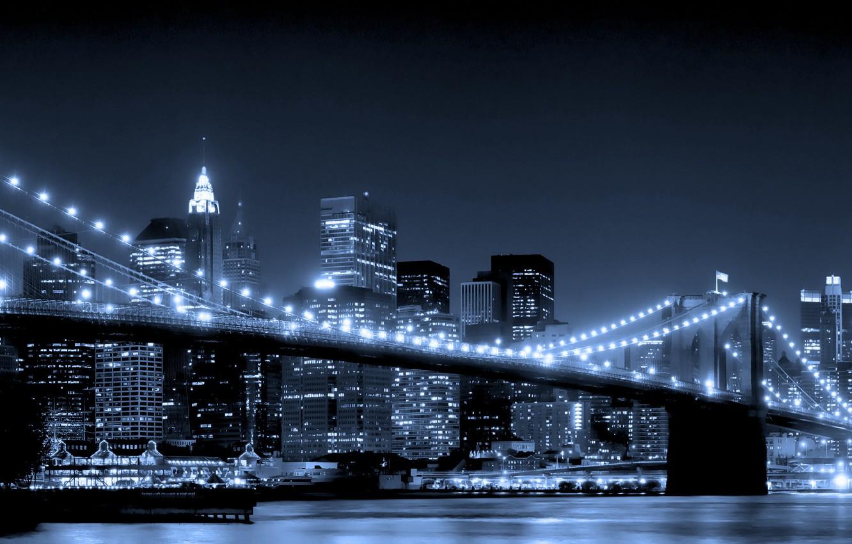 Фото обои вода, ночь, мост, city, город, огни, небоскребы, new york, Brooklyn Bridge