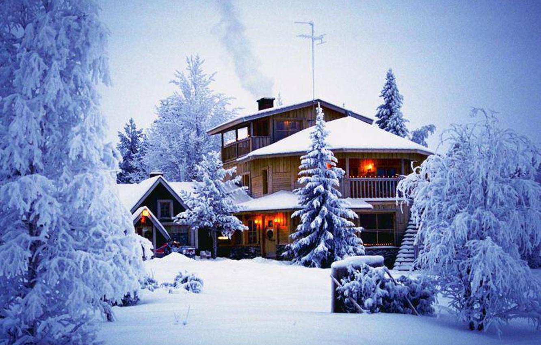 Фото обои house, nature, winter, snow