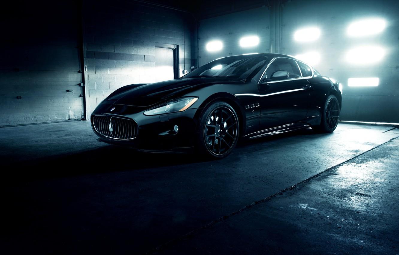 Фото обои Maserati, Front, GranTurismo, Black, Wheels, Garage, ADV.1, Ligth