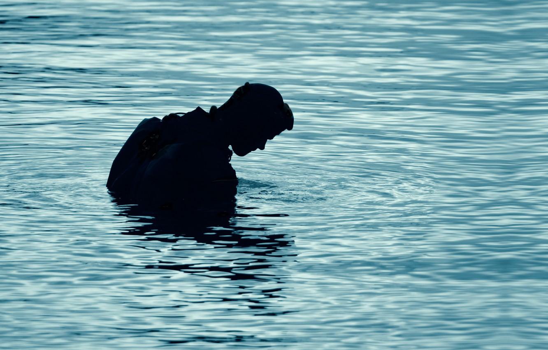 Фото обои lake, silhouette, diving