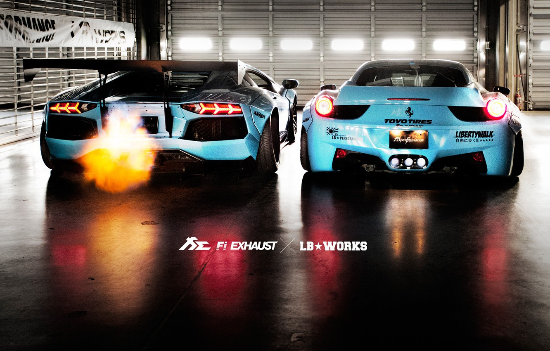 Фото обои Lamborghini, Ferrari, 458, Aventador, Italia, LP700, Liberty Walk, Fi Exhaust