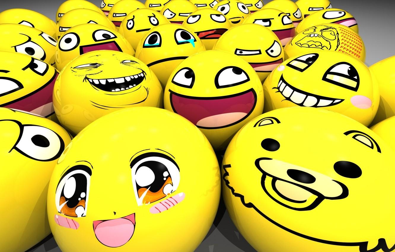 Обои шарики, желтый, смайлы, зеленые. Разное foto 17