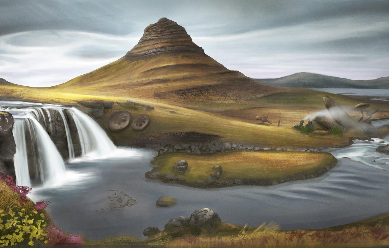 Фото обои трава, облака, река, холмы, водопад, арт, нарисованный пейзаж