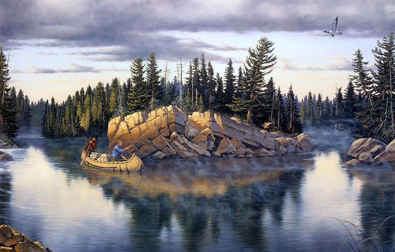 Фото обои лес, туман, река, камни, лодка, ель, утро, рыбаки, живопись, Derk Hansen, Northland Splendor