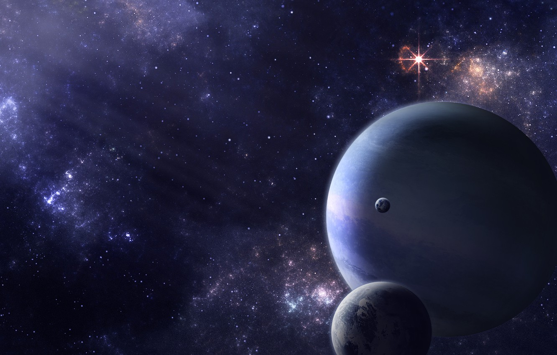 Фото обои звезды, свет, пространство, планеты, спутники