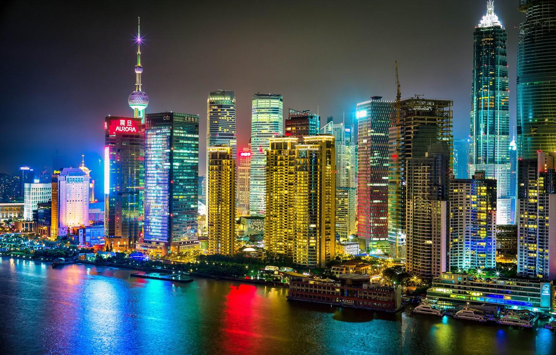 Обои здания, шанхай, ночной город, shanghai, китай, china. Города foto 6