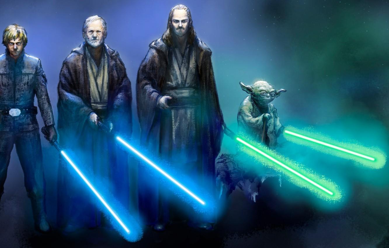 Фото обои star wars, Obi Wan Kenobi, yoda, jedi, Luke Skywalker, Qui Gon Jinn