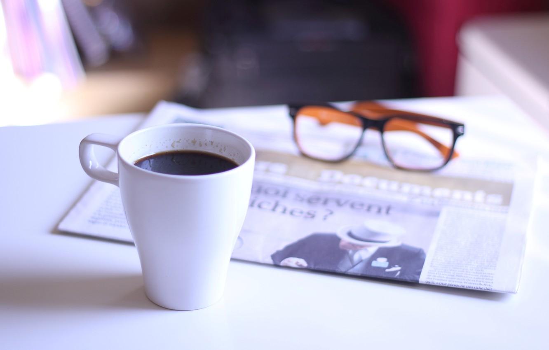 Фото обои очки, чашка, газета